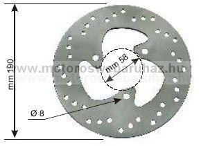 Féktárcsa APRILIA/BETA/GILERA/PIAGGIO/MBK/YAMAHA (225160200) RMS d:190-58mm