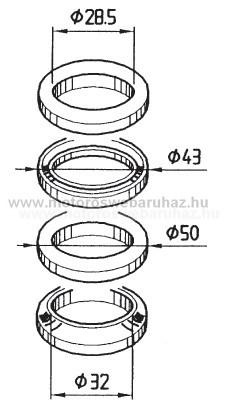 Kormánycsapágy szett BUZETTI (6025) alsó + felső (15547)
