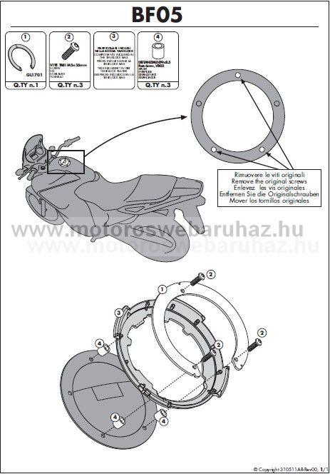 GIVI Tanktáska Adapter TANKLOCK Rendszerű rögzítéskez BF05