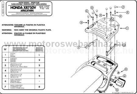 GIVI E210 Spec. hátsó platni Monokey dobozokhoz