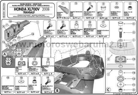 GIVI E225M Spec. hátsó platni Monolock dobozokhoz